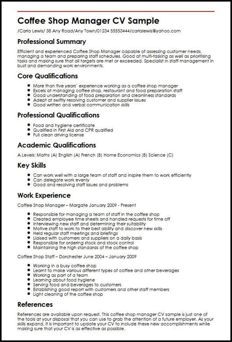 Resume For Coffee Shop by Coffee Shop Manager Cv Sle Myperfectcv