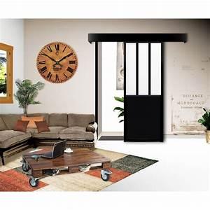 kit porte coulissante atelier noir porte interieure With porte de garage coulissante et porte intérieure type atelier