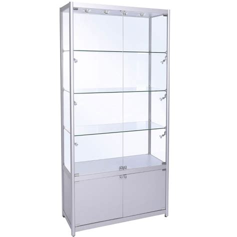 Display Cabinet by 1000mm W Glass Display Cabinet With Storage Led Fwc