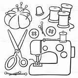 Cartoon Clipart Cucito Sewing Modelli Drawing Ricamo Applique Clothesline Line Trapunta Punto Coloring Machine Istockphoto sketch template