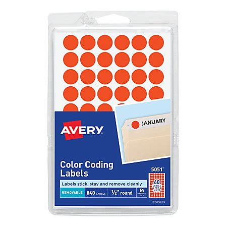 Avery Removable Round Color Coding Labels 12 Diameter Red