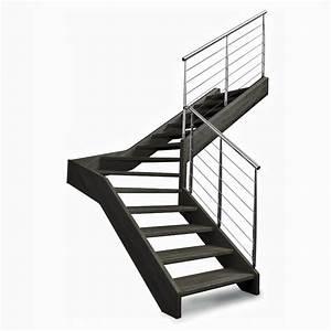 Escalier Bois Quart Tournant : fulmar escalier quart tournant avec limon et marches en bois ~ Farleysfitness.com Idées de Décoration
