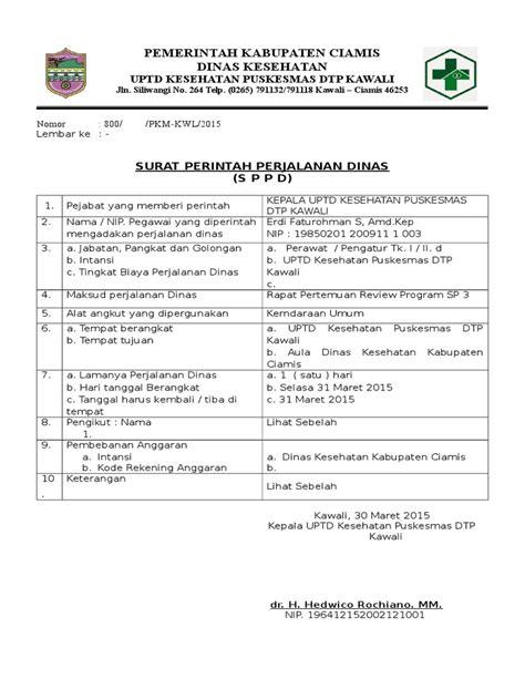 Surat Sppd by Surat Tugas Dan Sppd Doc