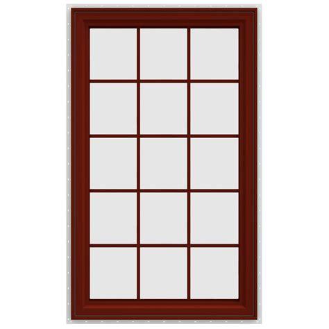 jeld wen        series left hand casement vinyl window  grids red