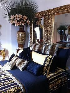 Navy Blue  Gold  White Bedroom