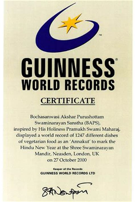 World Record Certificate Template by 3rd Guinness World Record For Annakut Uk
