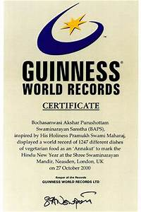 3rd guinness world record for annakut london uk With guinness world record certificate template
