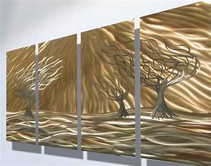 Metal decorative wall art with contemporary shiny trees