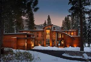 Metal, Glass, And, Wood, Homes, In, Snow, Modern, House, Designs