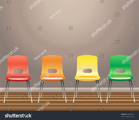 an illustration of four waiting room chairs in orange