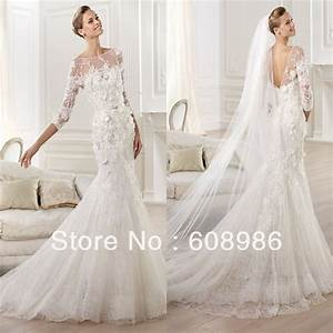 elegant lace sweetheart trumpet wedding dress with long With long sleeve trumpet wedding dress