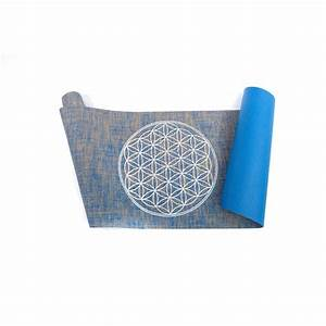 Organic yoga mat with flower of life made of jute for Tapis de yoga