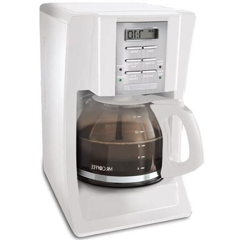 This sleekly designed coffee maker is perfect for those early risers. Mr. Coffee SJX20 12-Cup Programmable Coffeemaker, White
