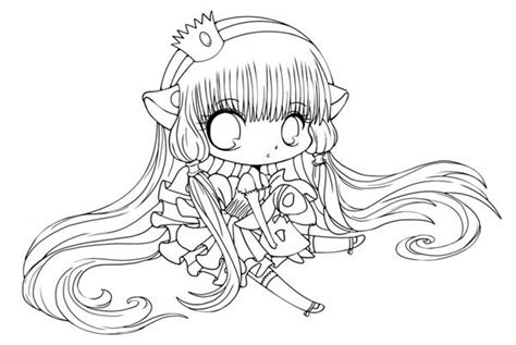 Easy Chibi Couple Coloring Cute Girl Pages