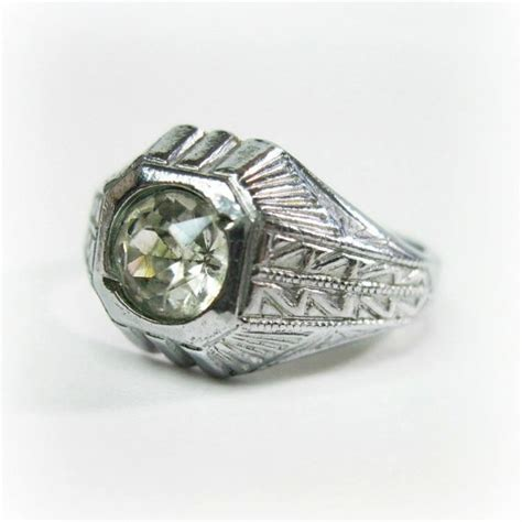 vintage mens deco ring 1930s rhinestone silver tone size 9 25 costume ring
