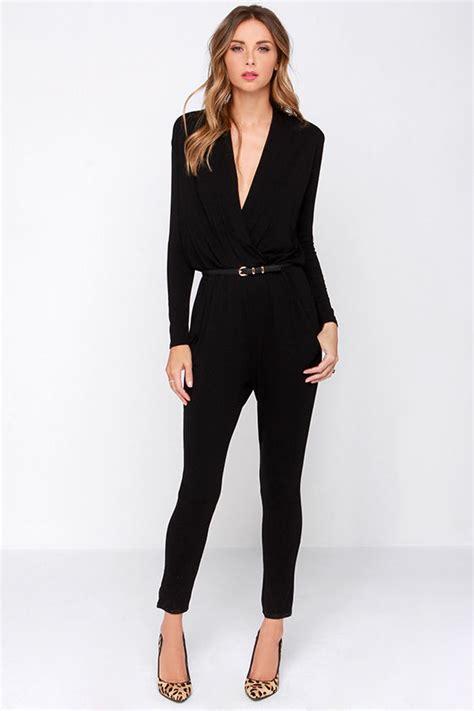 black s jumpsuit cool black jumpsuit surplice jumpsuit sleeve