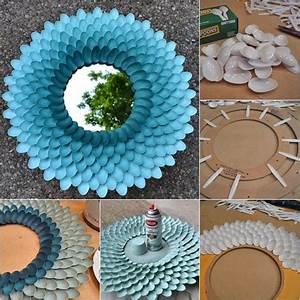 Diy decorative plastic spoon mirror fabartdiy