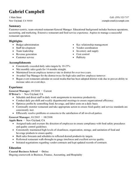 Bar Manager Resume Skills by Hotel General Manager Resume Template