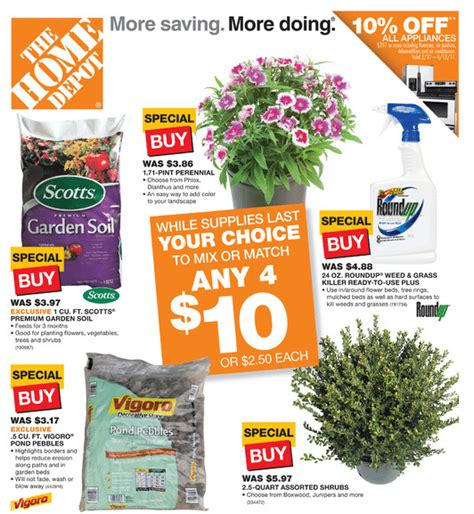 sneak peak home depot 4 for 10 sale starts tomorrow