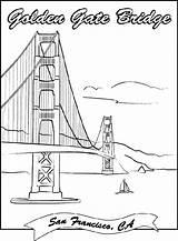Bridge Gate Golden Coloring Crayola Francisco London Tower Sheets Dibujos Puente Puentes Printable Bridges Monumentos Landmarks Paris Colorear Drawing Ausmalbilder sketch template