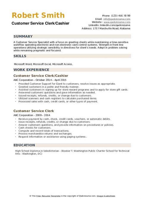 customer service clerk resume samples qwikresume
