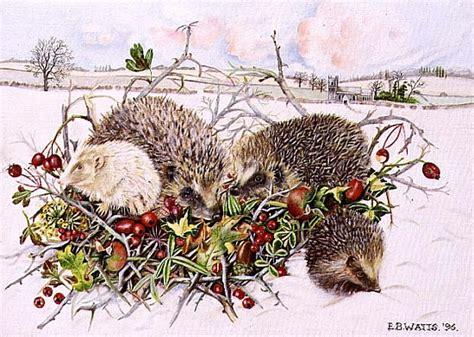 hedgehogs in hedgerow basket 1996 acry e b watts