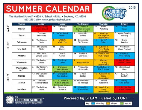 summer camp buckeye buckeye az 197 | 2015 Goddard School Summer Camp Calendar