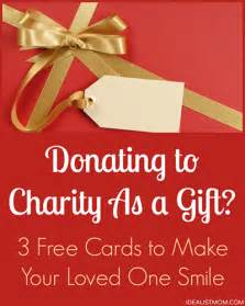 donating to charity as a gift 3 free cards to go with your gift