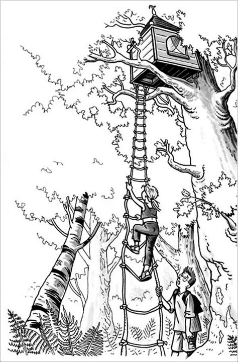 girl climbing  treehouse coloring page color luna