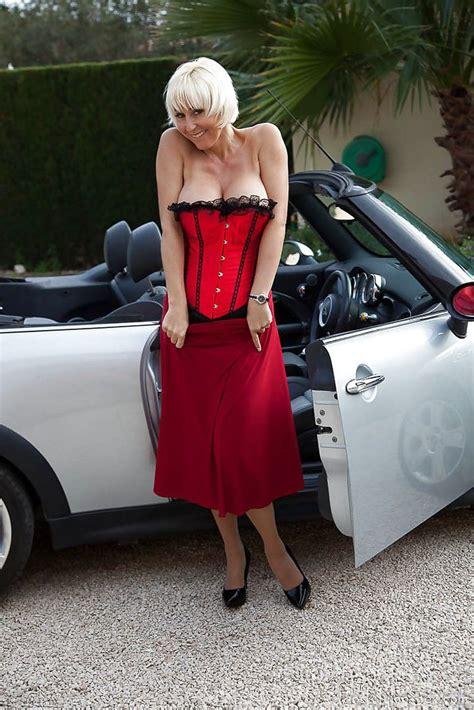 Hot Euro Lady Jan Burton Flashing Stocking Tops And
