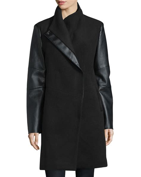 lyst vera wang wool coat  faux leather detail  black
