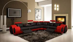 4087 red and black bonded leather sectional sofa with With 4087 modern leather sectional sofa with recliners
