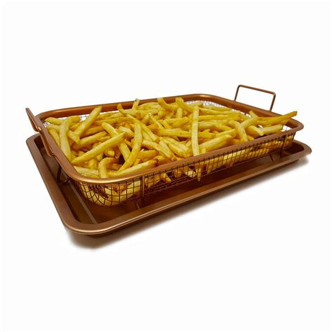 tray fryer air basket oven crisper mesh copper nonstick frying oil piece walmart button