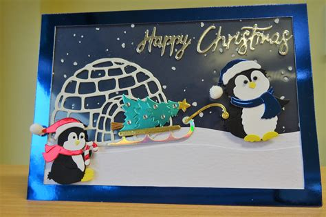 christmas card cottage cutz penguin die  purchase