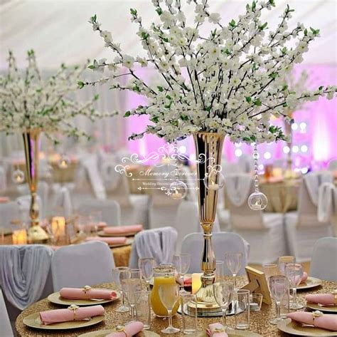 80cm Tall Wedding Flower Vase Metal Trumpet Vase for