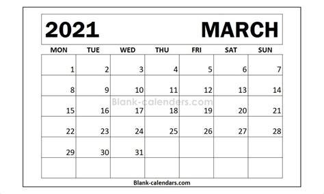 march  calendar monday start  calendar calendar