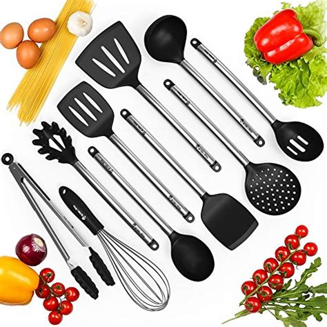 nonstick cooking kitchen silicone spatula utensils cookware spoon utensil pasta sets hanging marshmallowchef whisk ladle fda tong strainer approved server