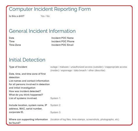 computer incident response templates  scenarios