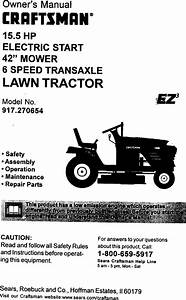 Craftsman 917270654 User Manual 15 5hp 42 Lawn Tractor