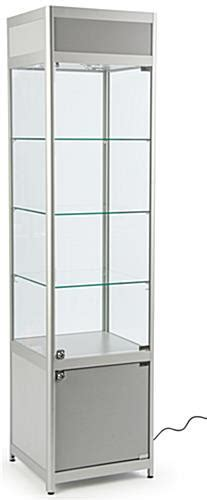 Knock Down Glass Tower Case   Enclosed Storage Raised Base