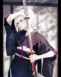 White, Hair, Anime, Girl, Samurai