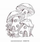 Fairy Coloring Mushroom Houses Tale Drawing Shutterstock Drawings Vector Sketch Fadas Sketches Malen Zeichnen Gnome Pencil Magic Zeichnungen Cartoon Jocaux sketch template