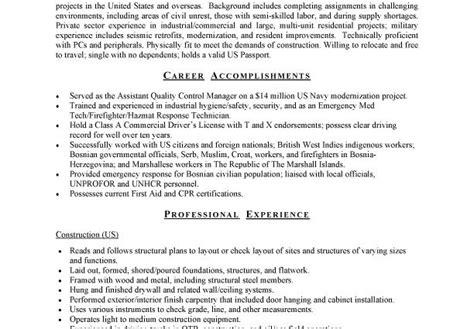 commercial carpenter resume sle career accomplishments
