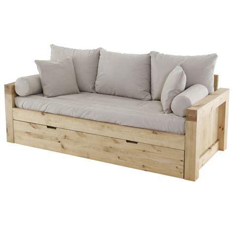 canapé en bois massif canapé convertible gigogne pin massif et microfibre goku