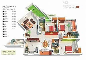 3 Bedroom Apartment/House Plans - Futura Home Decorating