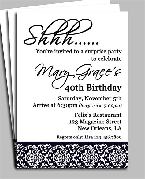 Black Damask Surprise Party Invitation Printable Or Printed. Swot Analysis Template Excel. Powerpoint Calendar Template 2017. Christening Thank You Cards. Parris Island Graduation Archives. References On Resume Template. Black And Gold Invitation Template. Book Cover Art. Staff Meeting Agenda Template