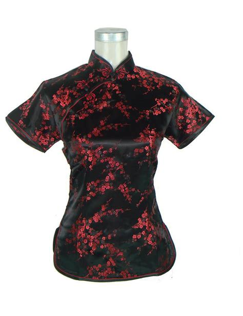 black red chinese female rayon blouse jacquard shirt tops