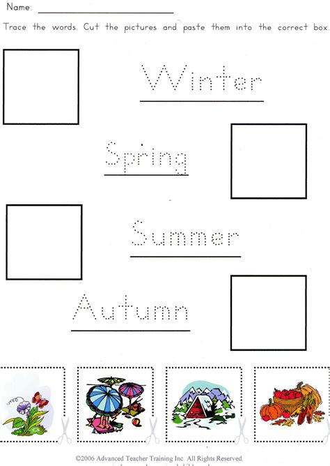 worksheets about seasons for kindergarten 4 seasons worksheets for kindergarten identify the