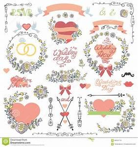 Wedding Invitation Decor Set Doodle Floral Wreath,heart