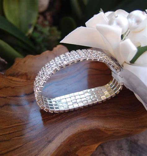 to be corsage corsage bracelet silver elastic with rhinestones